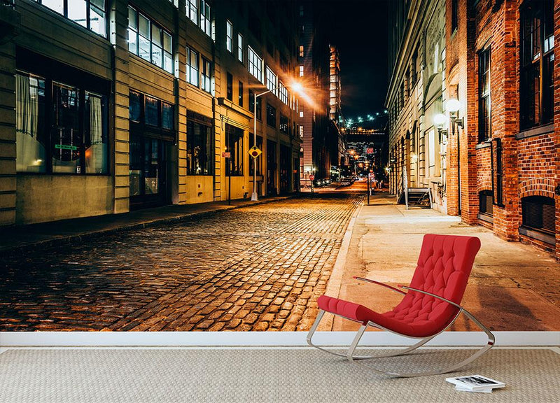 An alley at night in Brooklyn Wall Mural Wallpaper - Canvas Art Rocks - 1