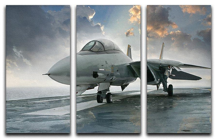 An jet fighter sits on the deck 3 Split Panel Canvas Print