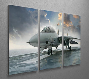 An jet fighter sits on the deck 3 Split Panel Canvas Print - Canvas Art Rocks - 2