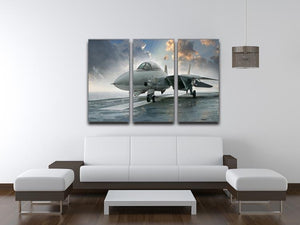 An jet fighter sits on the deck 3 Split Panel Canvas Print - Canvas Art Rocks - 3