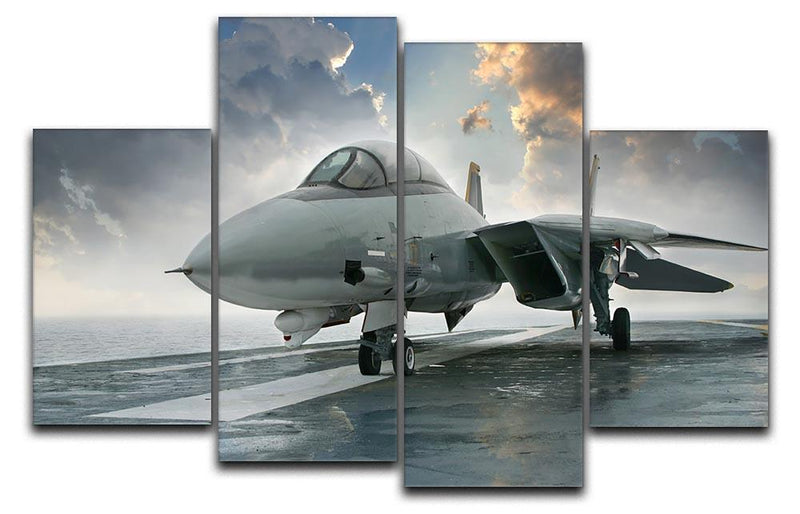 An jet fighter sits on the deck 4 Split Panel Canvas  - Canvas Art Rocks - 1