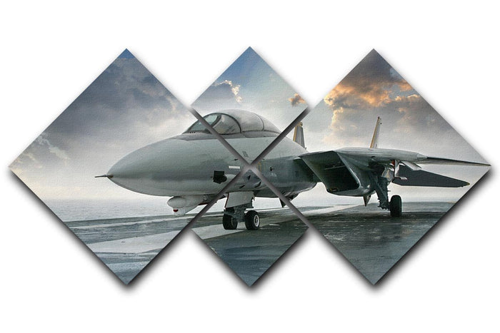 An jet fighter sits on the deck 4 Square Multi Panel Canvas