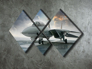 An jet fighter sits on the deck 4 Square Multi Panel Canvas  - Canvas Art Rocks - 2