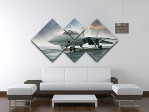 An jet fighter sits on the deck 4 Square Multi Panel Canvas  - Canvas Art Rocks - 3