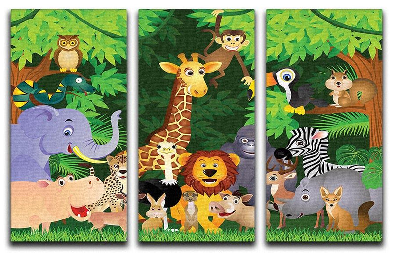 Animal cartoon 3 Split Panel Canvas Print - Canvas Art Rocks - 1