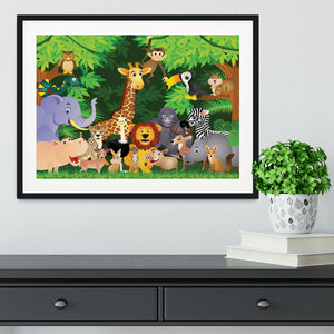 Animal cartoon Framed Print - Canvas Art Rocks - 1