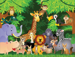 Animal cartoon Wall Mural Wallpaper - Canvas Art Rocks - 1