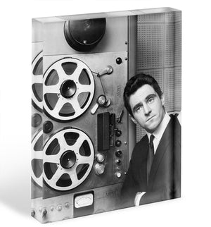 Anthony Newley in the recording studio Acrylic Block - Canvas Art Rocks - 1