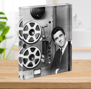 Anthony Newley in the recording studio Acrylic Block - Canvas Art Rocks - 2