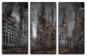 Apocalypse City 3 Split Panel Canvas Print - Canvas Art Rocks - 1