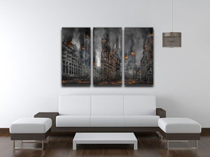 Apocalypse City 3 Split Panel Canvas Print - Canvas Art Rocks - 3