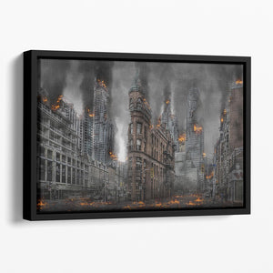 Apocalypse City Floating Framed Canvas - Canvas Art Rocks - 1