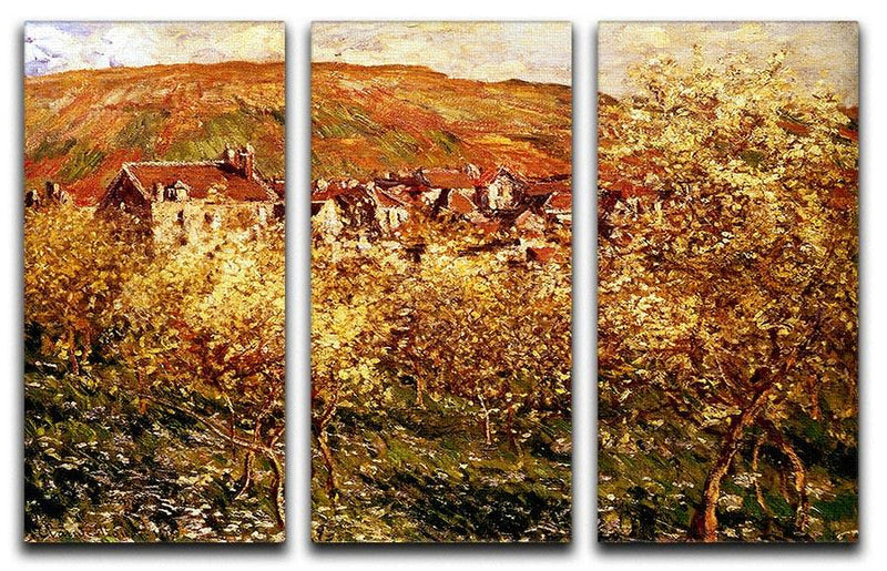 Apple Trees In Blossom by Monet Split Panel Canvas Print - Canvas Art Rocks - 4