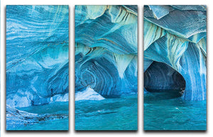 Aqua Marble Landscape 3 Split Panel Canvas Print - Canvas Art Rocks - 1