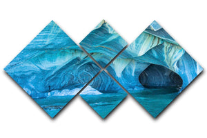 Aqua Marble Landscape 4 Square Multi Panel Canvas - Canvas Art Rocks - 1