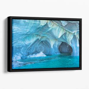 Aqua Marble Landscape Floating Framed Canvas - Canvas Art Rocks - 1