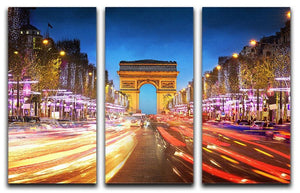 Arc de triomphe Paris city at sunset 3 Split Panel Canvas Print - Canvas Art Rocks - 1