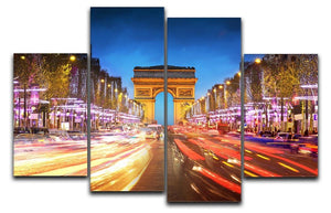 Arc de triomphe Paris city at sunset 4 Split Panel Canvas  - Canvas Art Rocks - 1