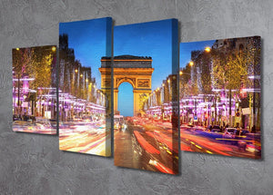 Arc de triomphe Paris city at sunset 4 Split Panel Canvas  - Canvas Art Rocks - 2