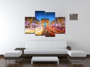 Arc de triomphe Paris city at sunset 4 Split Panel Canvas  - Canvas Art Rocks - 3