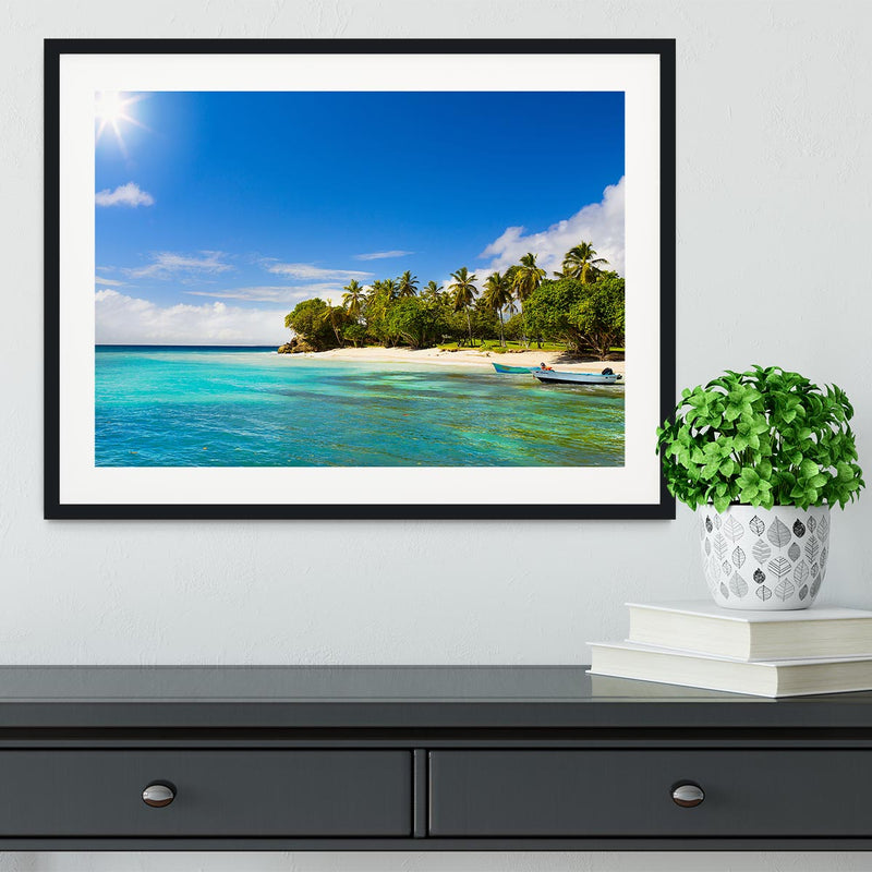 Art Caribbean beach with fishing boat Framed Print - Canvas Art Rocks - 1