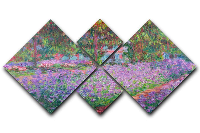 Artists Garden by Monet 4 Square Multi Panel Canvas