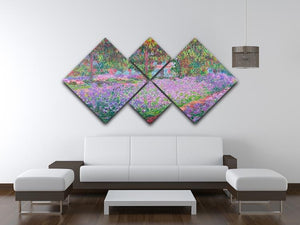 Artists Garden by Monet 4 Square Multi Panel Canvas - Canvas Art Rocks - 3