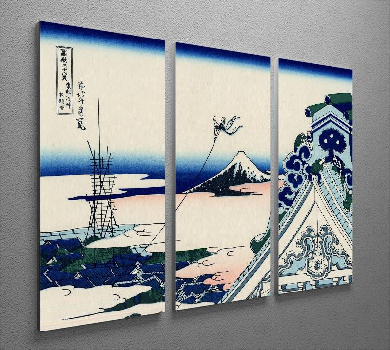 Asakusa Honganji temple by Hokusai 3 Split Panel Canvas Print - Canvas Art Rocks - 2