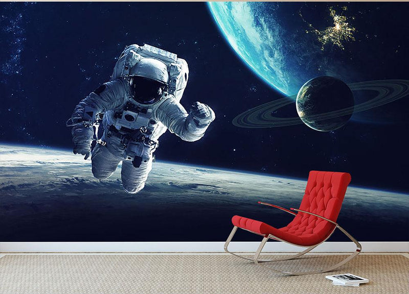 Astronaut at spacewalk Wall Mural Wallpaper - Canvas Art Rocks - 1