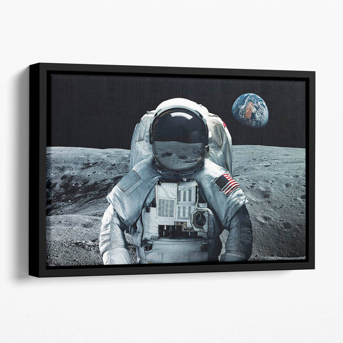 Astronaut at the moon Floating Framed Canvas