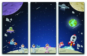 Astronaut cartoon characters 3 Split Panel Canvas Print - Canvas Art Rocks - 1