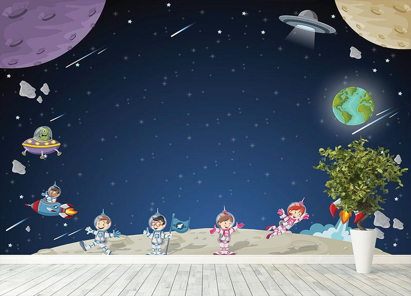 Astronaut cartoon characters Wall Mural Wallpaper - Canvas Art Rocks - 4