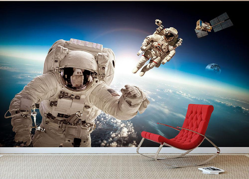 Astronaut in outer space Wall Mural Wallpaper - Canvas Art Rocks - 1