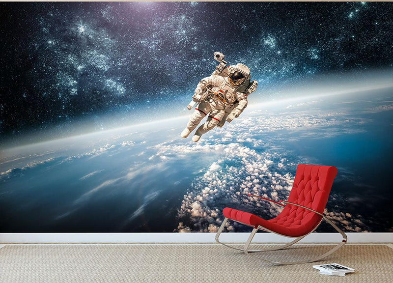 Astronaut in outer space planet earth Wall Mural Wallpaper - Canvas Art Rocks - 2