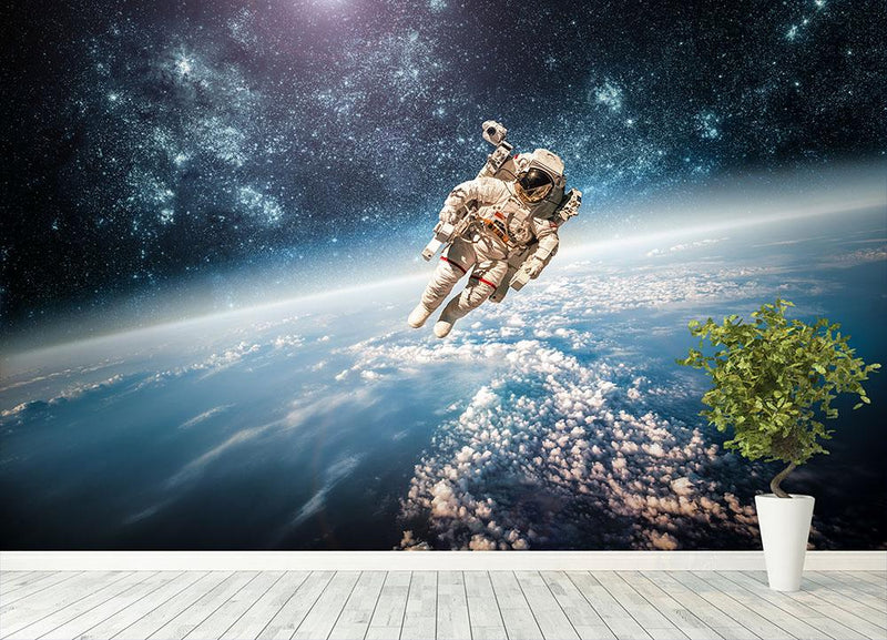 Astronaut in outer space planet earth Wall Mural Wallpaper - Canvas Art Rocks - 4