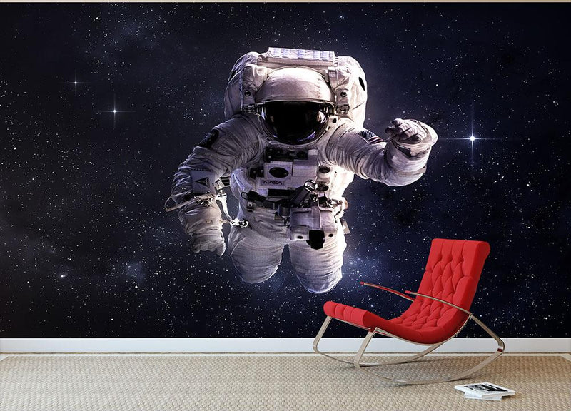 Astronaut in outer space with stars Wall Mural Wallpaper - Canvas Art Rocks - 1