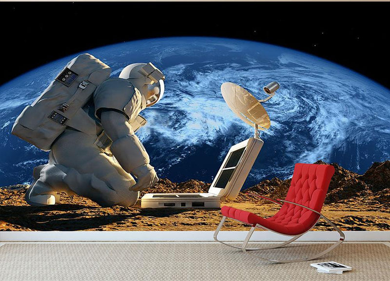 Astronaut working on the Moon Wall Mural Wallpaper - Canvas Art Rocks - 2