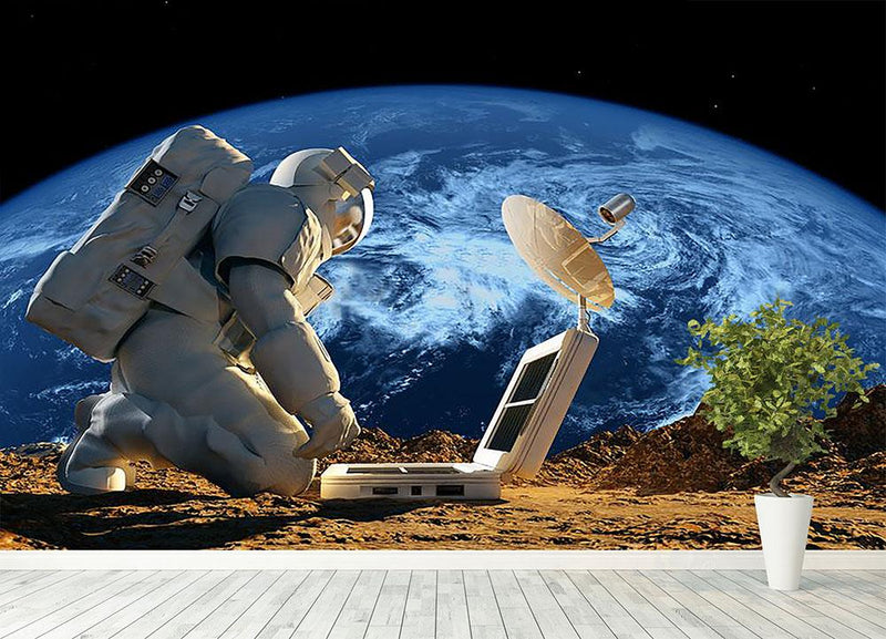 Astronaut working on the Moon Wall Mural Wallpaper - Canvas Art Rocks - 4