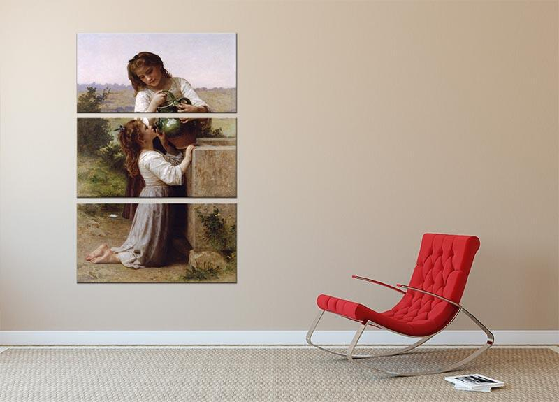 At The Fountain 2 By Bouguereau 3 Split Panel Canvas Print - Canvas Art Rocks - 2