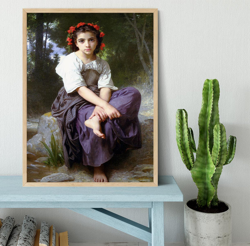 At the Edge of the Brook 2 By Bouguereau Framed Print - Canvas Art Rocks - 4