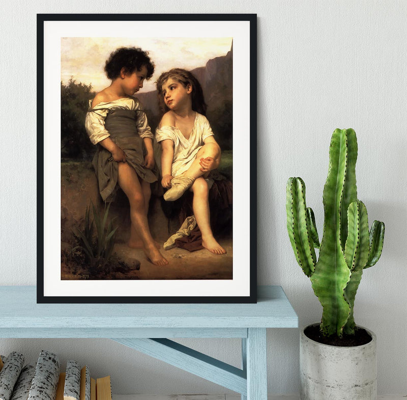 At the Edge of the Brook By Bouguereau Framed Print - Canvas Art Rocks - 1