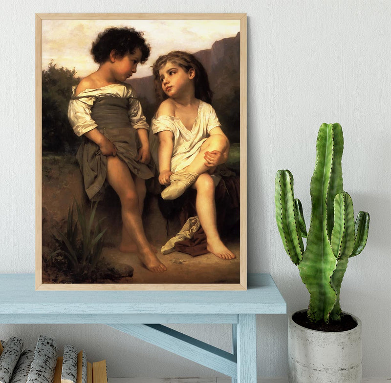 At the Edge of the Brook By Bouguereau Framed Print - Canvas Art Rocks - 4