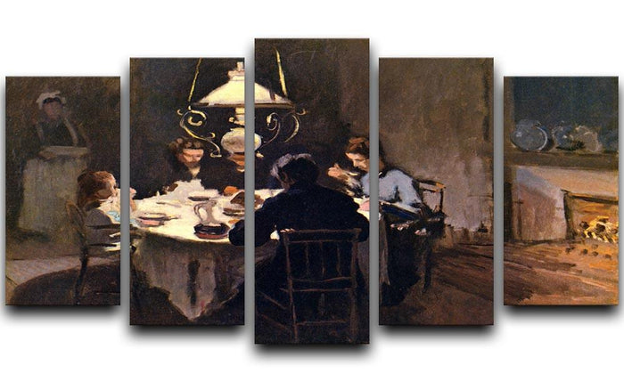 At the Table by Monet 5 Split Panel Canvas