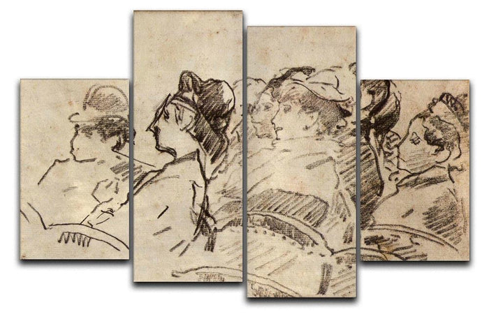 At the Theater by Manet 4 Split Panel Canvas