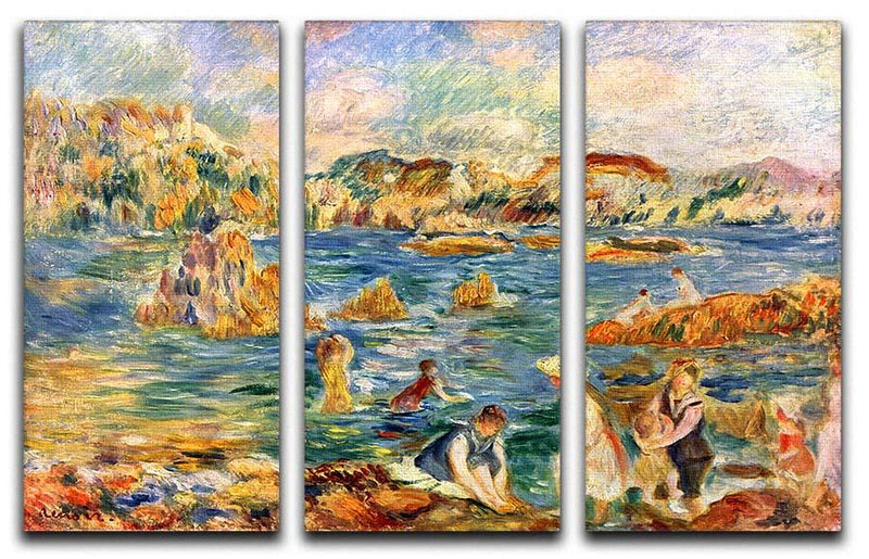 At the beach of Guernesey by Renoir 3 Split Panel Canvas Print - Canvas Art Rocks - 1