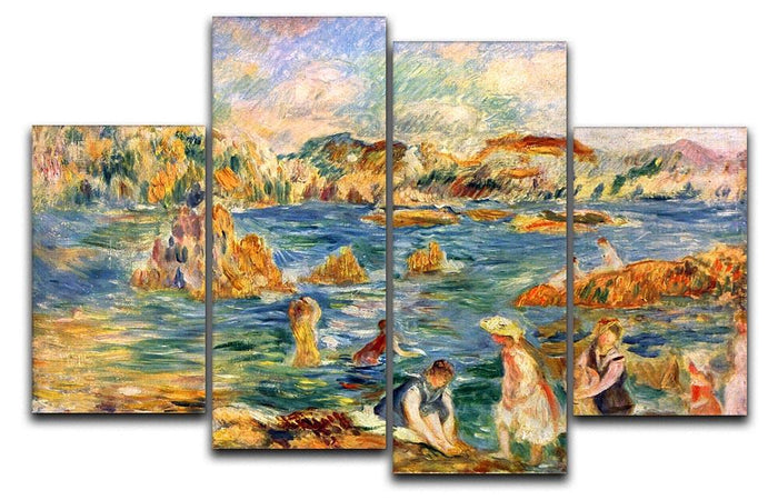 At the beach of Guernesey by Renoir 4 Split Panel Canvas