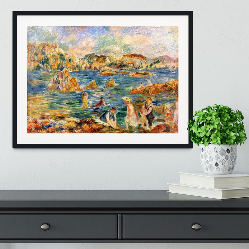 At the beach of Guernesey by Renoir Framed Print - Canvas Art Rocks - 1