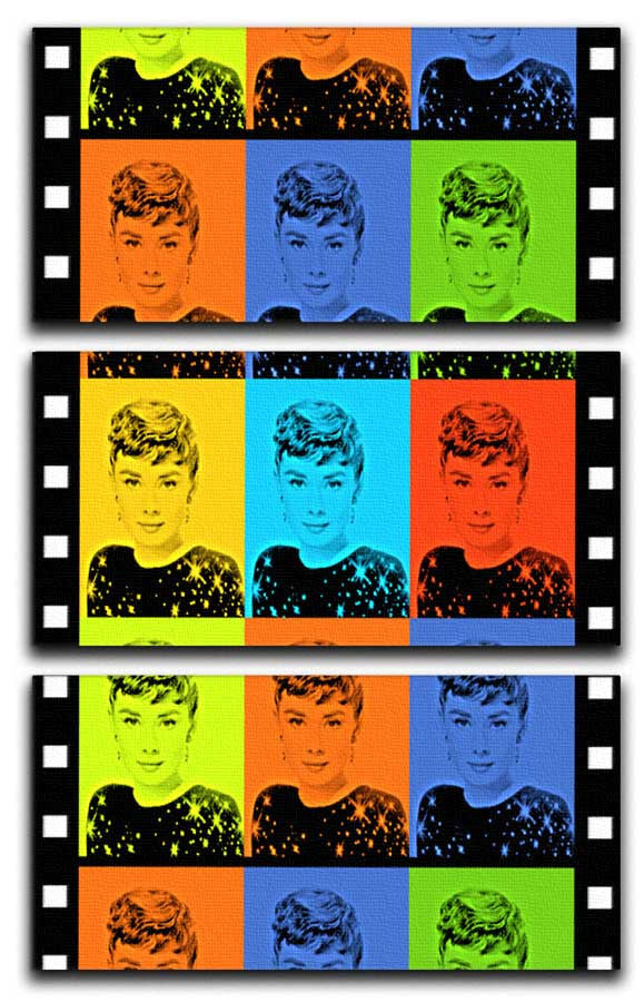 Audrey Hepburn Pop Art 3 Split Canvas Print