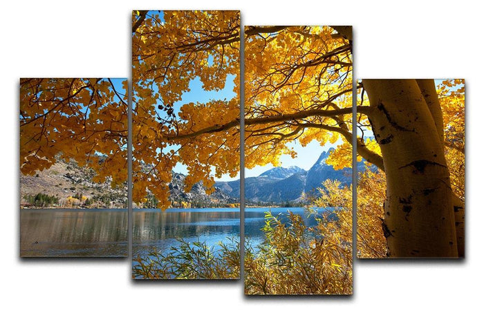 Autumn mountain lake 4 Split Panel Canvas