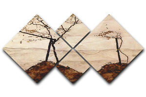 Autumn sun and trees by Egon Schiele 4 Square Multi Panel Canvas - Canvas Art Rocks - 1